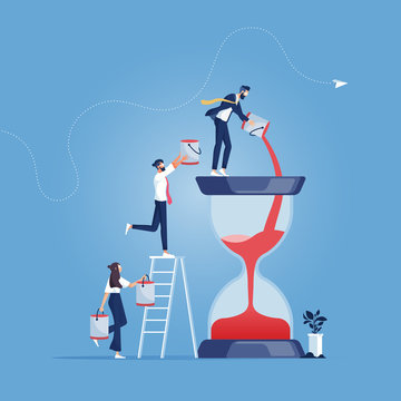 Time management concept-Business team pouring additional time sand into the Hourglass