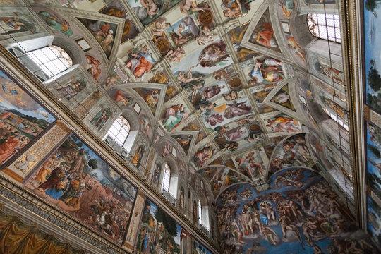 Vaticano, Italia - Agosto 10, 2020:Cappella Sistina dipinta da Michelangelo, Città del Vaticano