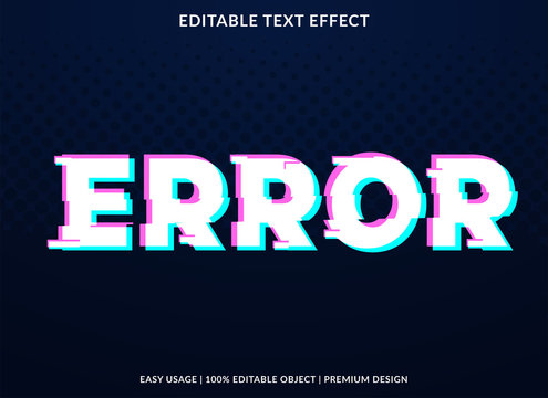 error text effect template with glitch style and bold font concept