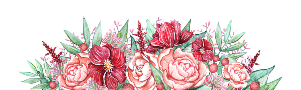 Watercolor floral boarder drawn by hand. Elegant decoration made with bright flowers  peonies, anemones, leaves. Great for postcards, web design,  social media, invitations, cards or stickers design