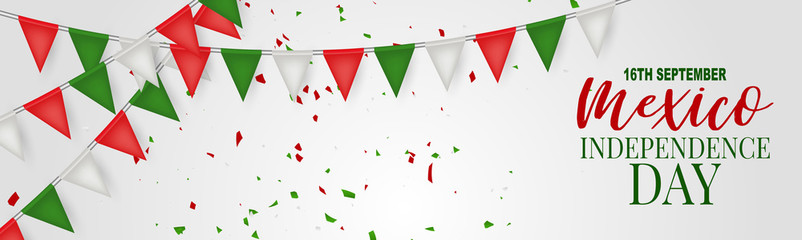Mexico Independence Day banner or header. 16 September national holiday. Patriotic design concept. Green, white, and red Mexican bunting flags. Vector illustration.