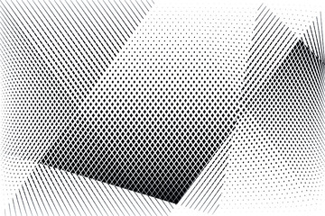 Abstract halftone dots and lines light background, geometric dynamic pattern, vector modern design texture.