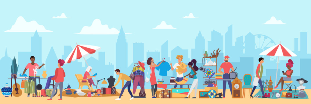 People in flea market vector illustration. Cartoon flat man woman buyer characters shopping second hand clothes on garage sale, vendors sell vintage furniture, jewelry in bazaar marketplace background