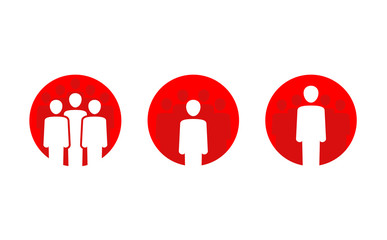 People icon - people group silhouettes in red circular shape in three different variations - flat symmetric vector icon or logo template Fotobehang