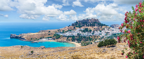 Wall Mural - Landscape with beach and castle at Lindos village of  Rhodes, Greece
