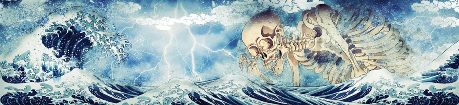神奈川沖浪裏&相馬の古内裏の骸骨 嵐ロングバージョン