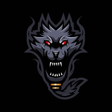 angry wolf mascot logo design vector with modern illustration concept style for badge, emblem and t shirt printing. bearded wolf illustration