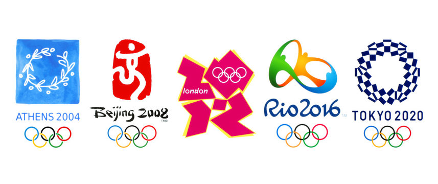 Collection of official logos of the Summer Olympic Games