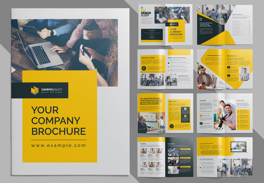 Clean Corporate Brochure and with Yellow and Dark Accents