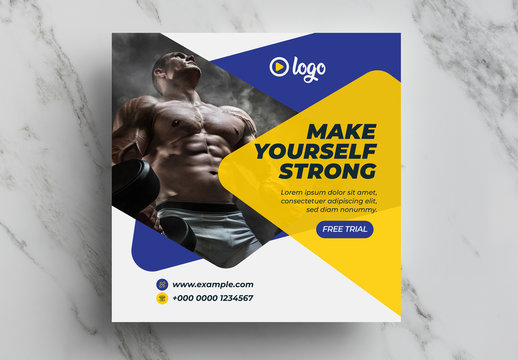Gym and Fitness Social Media Banner Layout