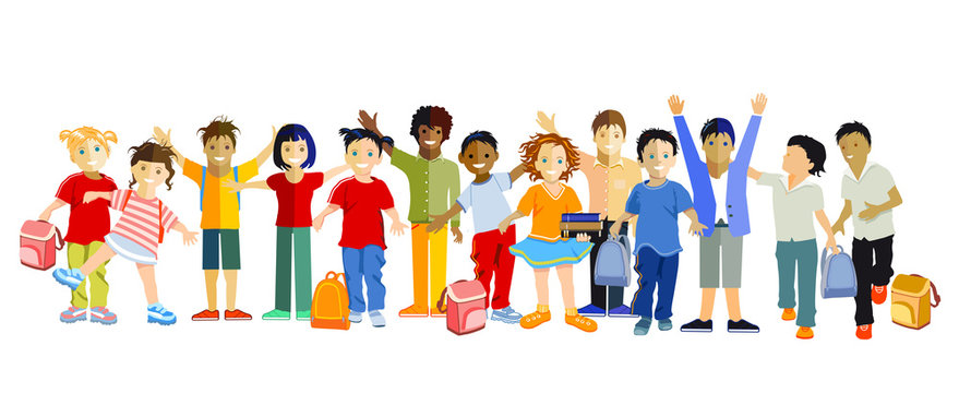 Schulkinder vergnügt beisammen, Vector Illustration