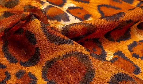 Background, texture, pattern, silk fabric cheetah skin, african savannah theme