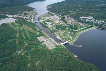 Hydropower Plant. Aerial View. Hydraulic Engineering Structure Located near Zelenoborskiy Town in Russia