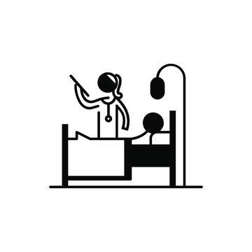 Patient and Sick icon set. Hospital Clinic Medical Healthcare Doctor Nurse Icon Symbol.