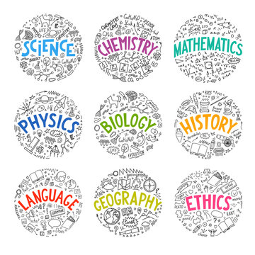 Science, chemistry, mathematics, physics, biology, history, language, geography, ethics. Set from school subjects doodle with hand drawn lettering.