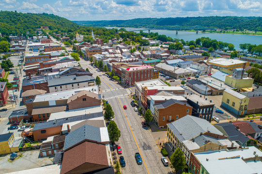 Aerial View of Madison Indiana and the Ohio River. Beautiful scenic little vacation town