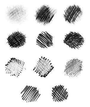 Hand-drawn circular chalk strokes in monochrome style.