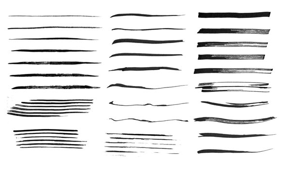 Set of ink line strokes in monochrome style.