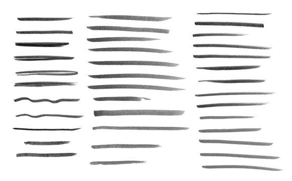 Set of marker line strokes in monochrome style.