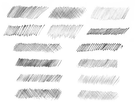 A set of strokes of artistic pencil sketches.