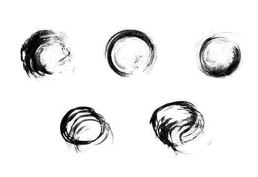Five hand-drawn circular brush strokes in monochrome style.