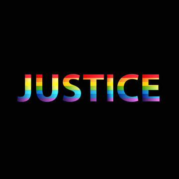 Justice colorful text word vector image rainbow colors