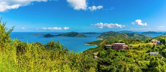 Obraz A view from Ridge Road towards the islands of Guana, Great Camanoe and Scrub from the main island of Tortola - fototapety do salonu
