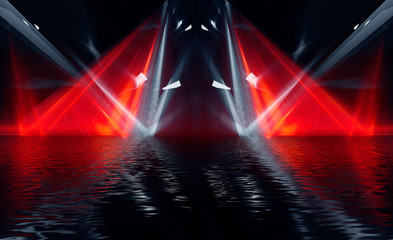 Fotomurales - Abstract dark modern futuristic background with red neon light, beams and spotlights. Reflection of night lights in the water. Light tunnel, neon light. Empty night scene. 3D illustration.