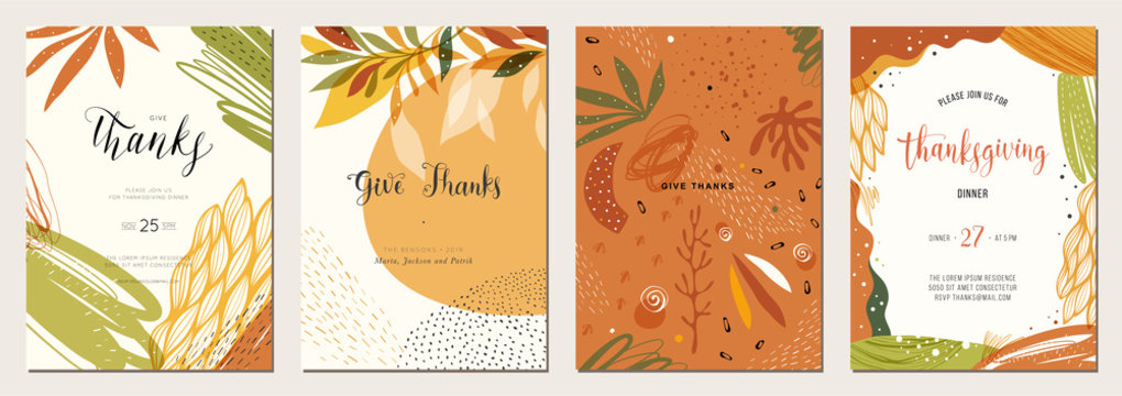 Thanksgiving cards. Set of abstract creative universal artistic templates. Good for poster, invitation, cover, banner, placard and brochure