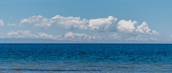 View Across Lake Titicaca into the Bolivian Andes Mountain Range