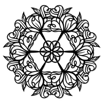 Abstract floral mandala pattern. Vector cut template.