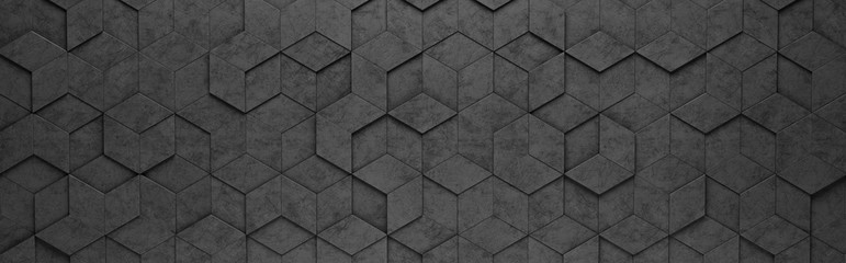 Black Rhombus and Hexagons 3D Pattern Background
