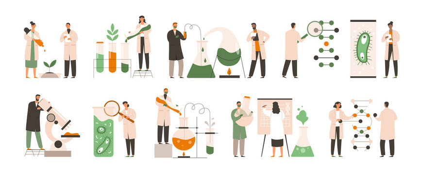 Set of different biochemists working in labs doing chemical analysis, tests and experiments on plants and microorganisms, colored vector illustration