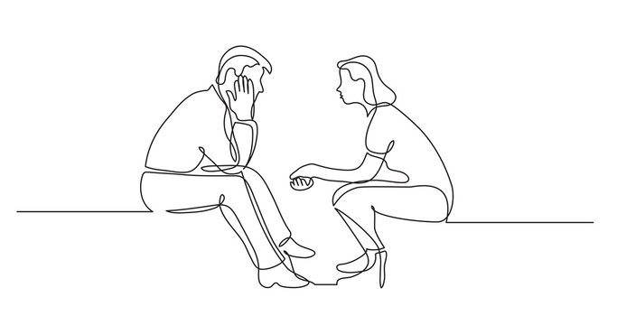young man and woman talking having conversation