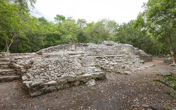 TULUM, QUINTANA ROO, MEXICO - Jul 28, 2019: Archaeological Site of Xel-Há