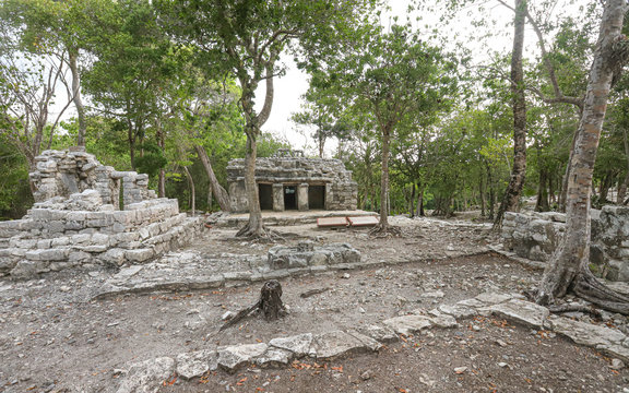 TULUM, QUINTANA ROO, MEXICO - Jul 28, 2019: Buildings at the Archaeological Site of Xel-Ha