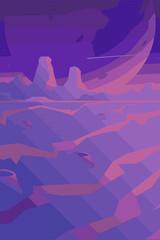 Canvas Prints Violet Futuristic, fantastic, space background, Abstract landscape, Vector banner with polygonal landscape illustration, Minimalist style, Flat design