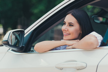 Close-up portrait of her she nice attractive lovely pretty charming dreamy cheerful cheery lady enjoying riding cool white vehicle motorway high way park leisure free time