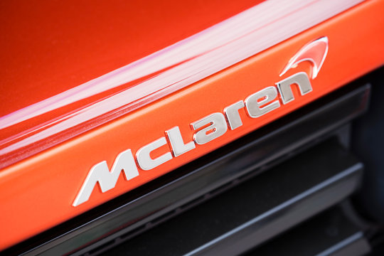 Melbourne, Australia - Oct 23, 2015: Close-up view of the logo on a McLaren supercar on public display in a car show