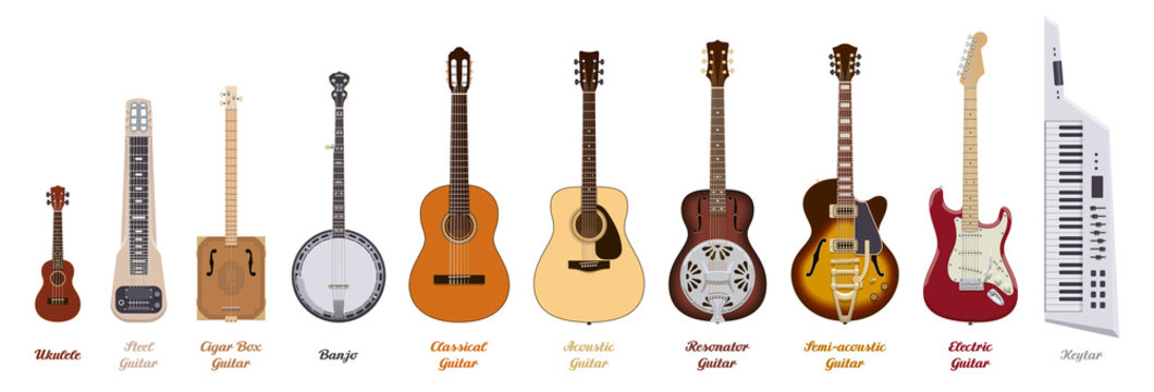 Guitar set. Realistic guitars of different types on white background. Musical Instruments. Vector illustration.
