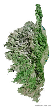 Corse, region of France, on white. Satellite
