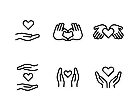 手とハートのアイコンのセット/チャリティー/優しさ/愛/医療/支え/援助