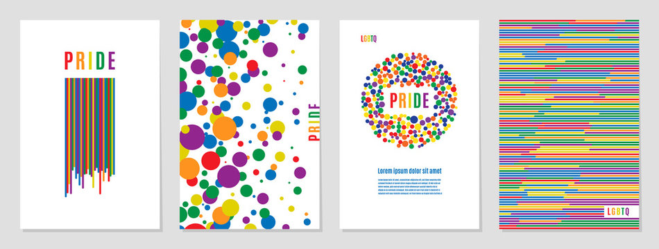 Lgbtq rainbow flag freedom community, pride pattern on white background, colorful cover illustration.