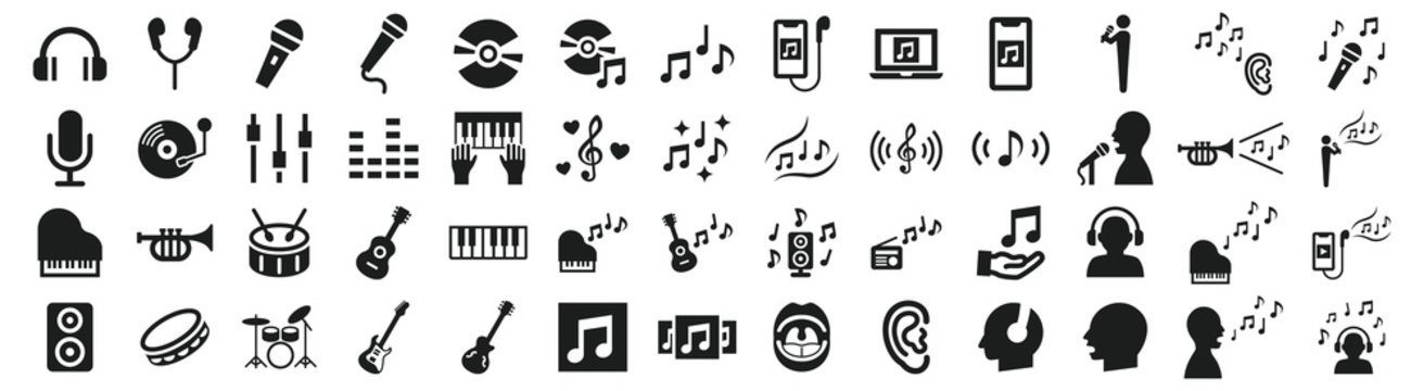 Set of various icons related to music