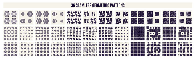 Set of monochrome geometric seamless patterns. Vector backgrounds.