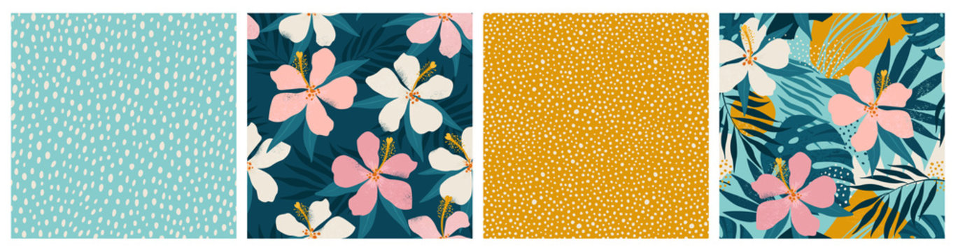 Contemporary floral and polka dot shapes collage seamless pattern set. Modern exotic design for paper, cover, fabric, interior decor and other users.
