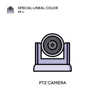 Ptz camera Special lineal color icon. Illustration symbol design template for web mobile UI element. Perfect color modern pictogram on editable stroke.