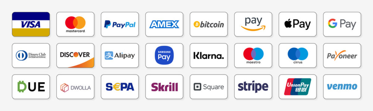 Vicenza, Italy –  August 21, 2020 : Online payment methods icons set, company logos : Visa, Mastercard, Paypal, American Express, Bitcoin, Amazon Pay, Apple Pay, Google… Isolated E-commerce payments
