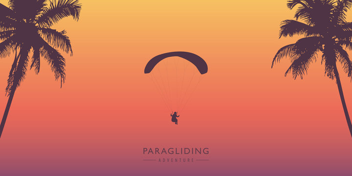 paragliding adventure between palm trees vector illustration EPS10