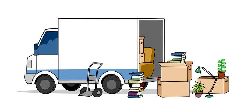 Transporter LKW bei Umzug mit Umzugskartons